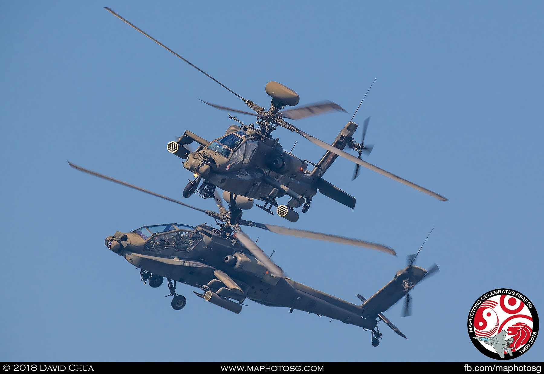 Final shot of the two Apaches as they complete their circle to overfly the crowd in the last show on Sunday.