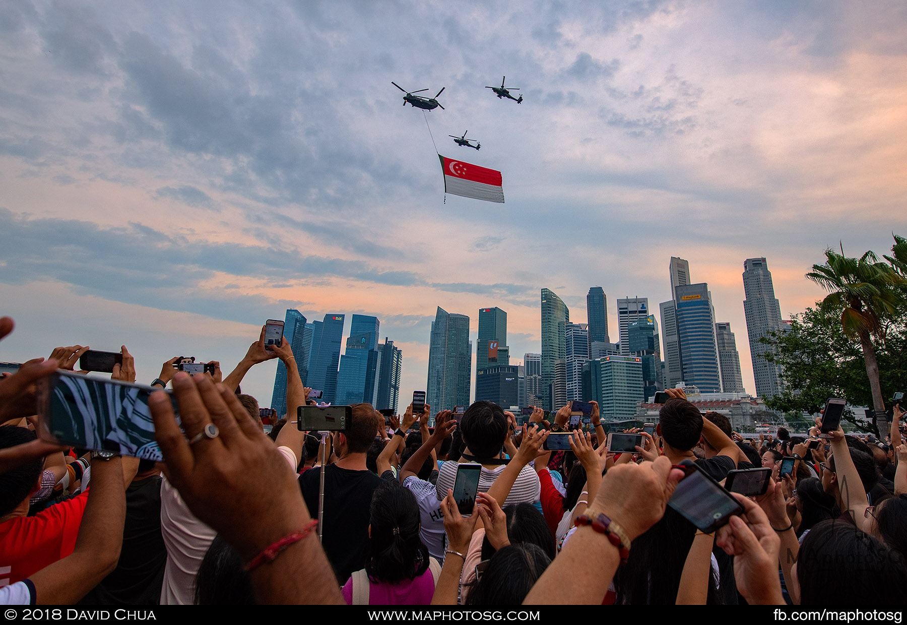 18. Everybody in the crowd at Esplanade waterfront tries to get a photo or video of the state flag fly past.