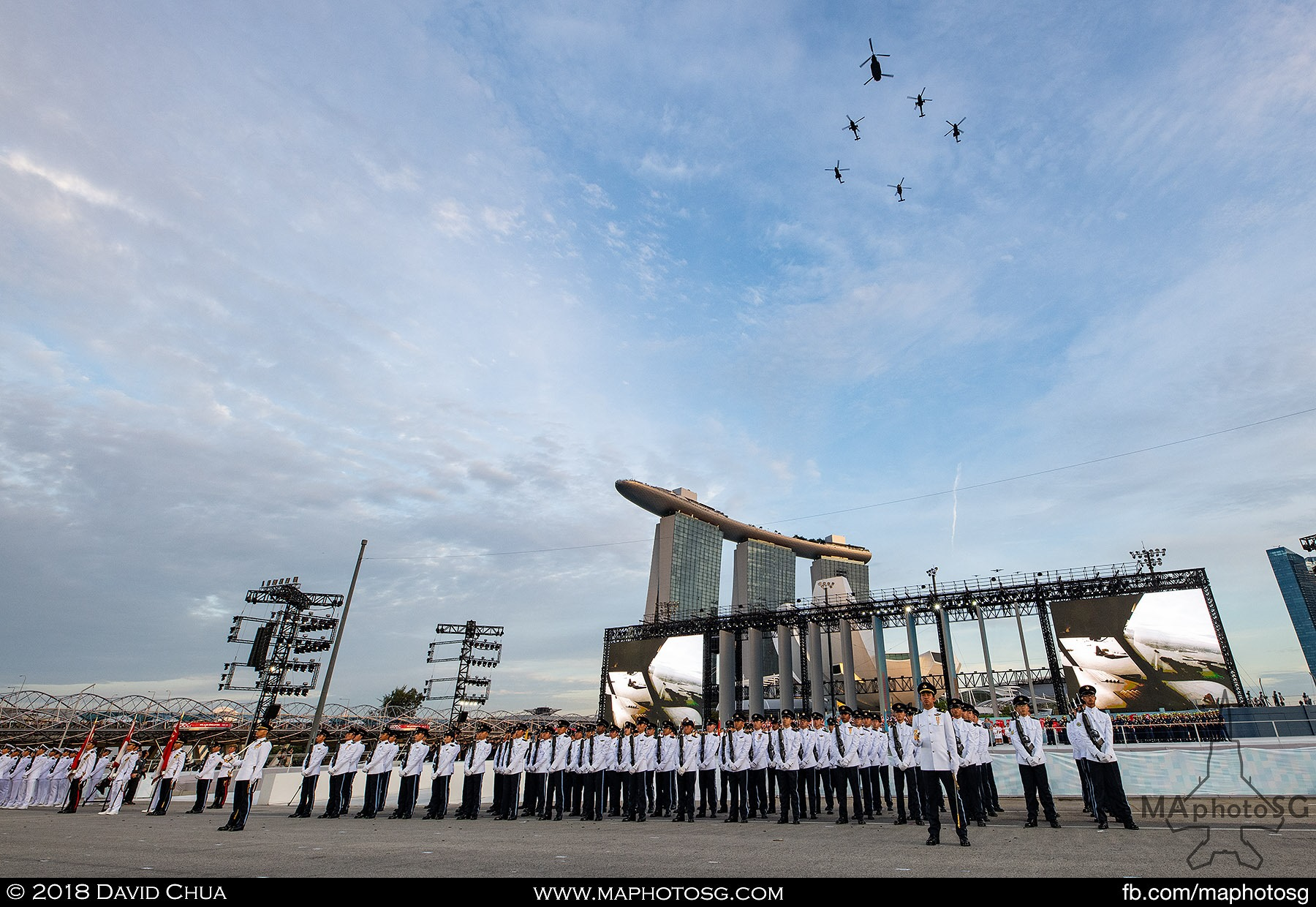 24. RSAF Helicopter Formation fly past the parade to begin the aerial display segment.