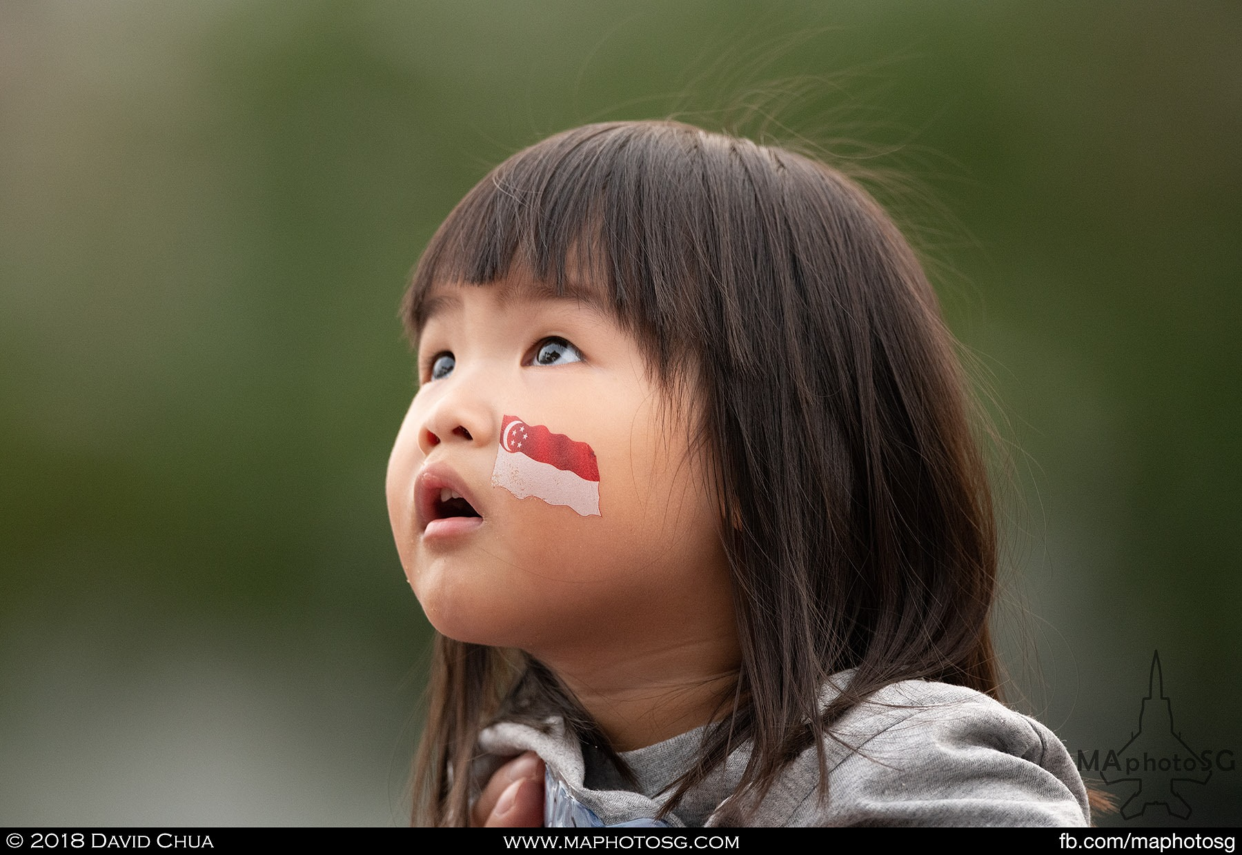 29. A young girl mesmerised by the RSAF aerial display.