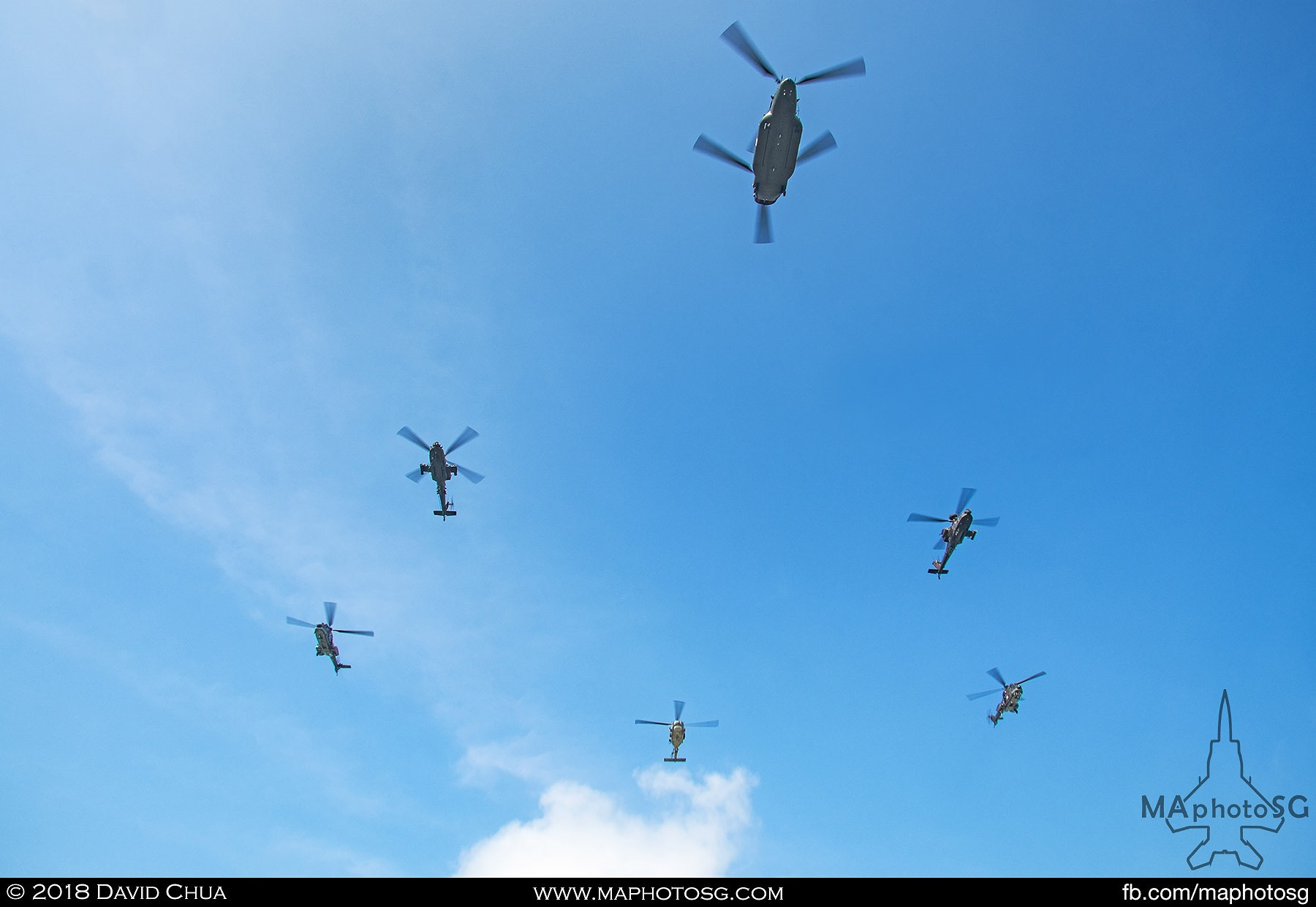 Helicopter Formation comprised of 1 CH-47D Chinook, 2 AH-64 Apaches, 2 AS332M Super Pumas and 1 S-70B Seahawk