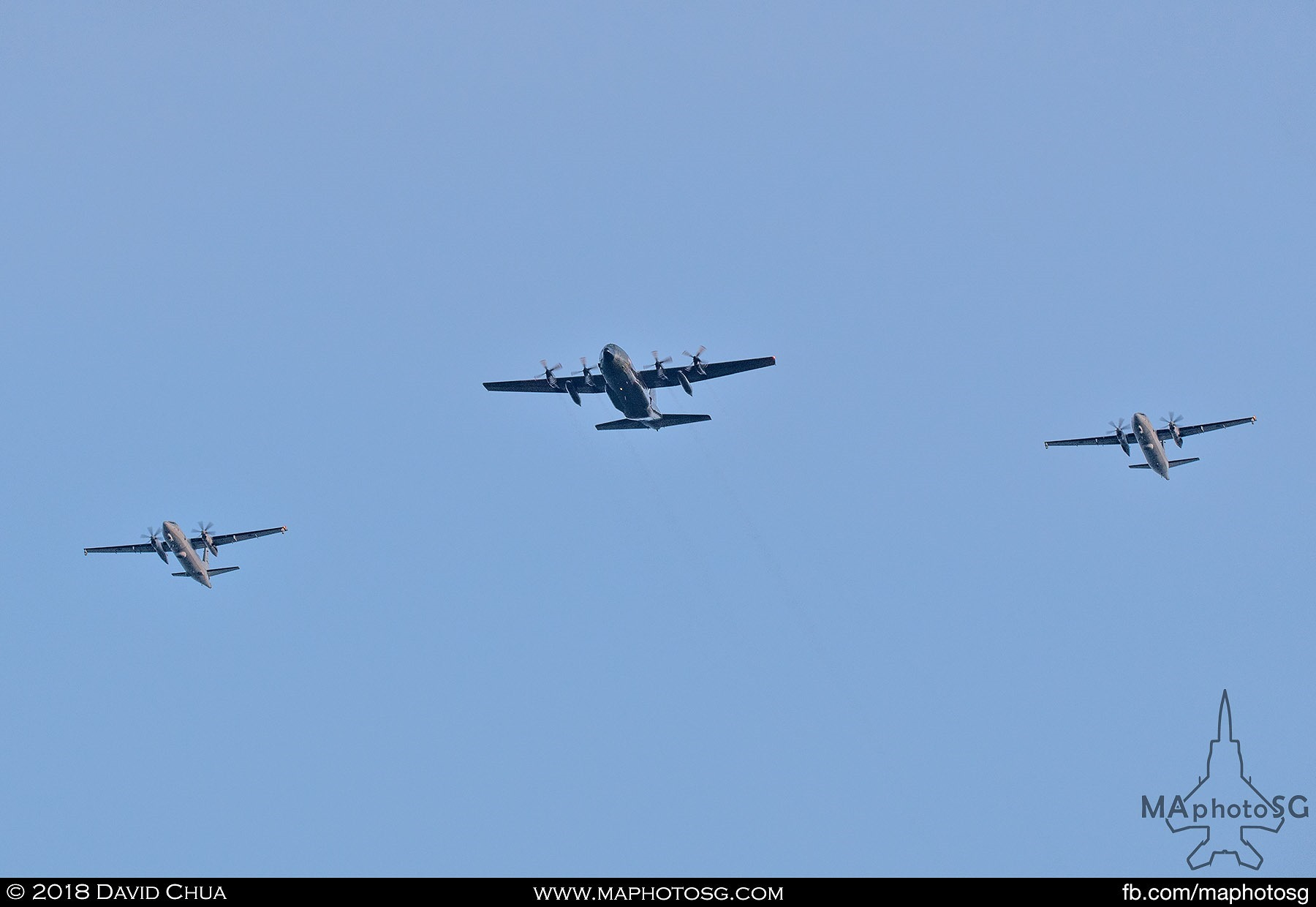 Transport Formation of a C-130H Hercules flanked by 2 Fokker 50 MPAs