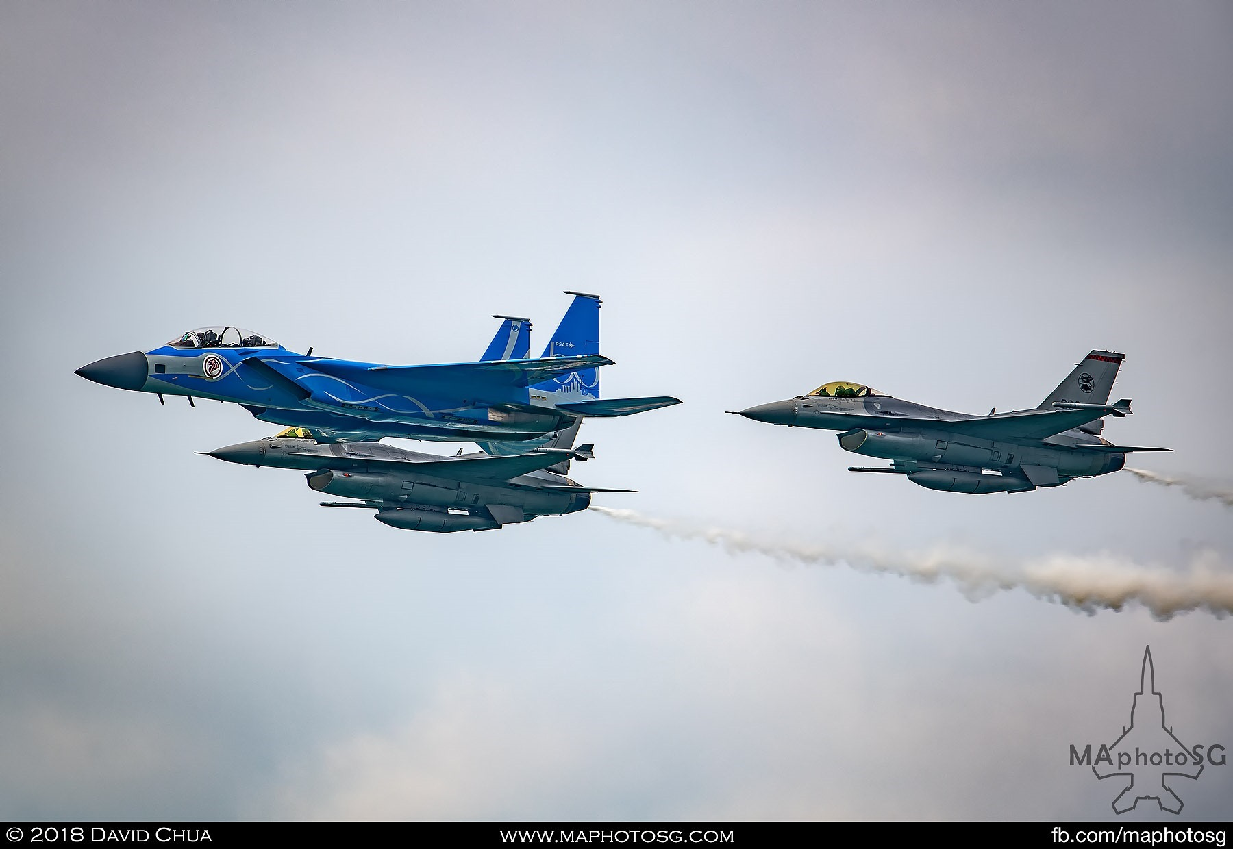 Fighter Aerial Display by RSAF50 livery F-15SG and 2 F-16Cs