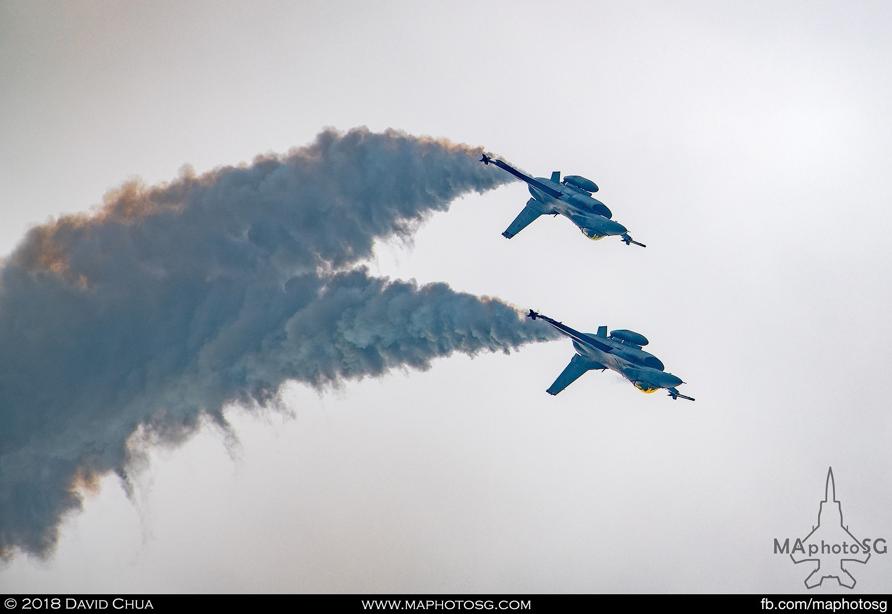 2 F-16Cs performs during the Fighter Aerial Display segment