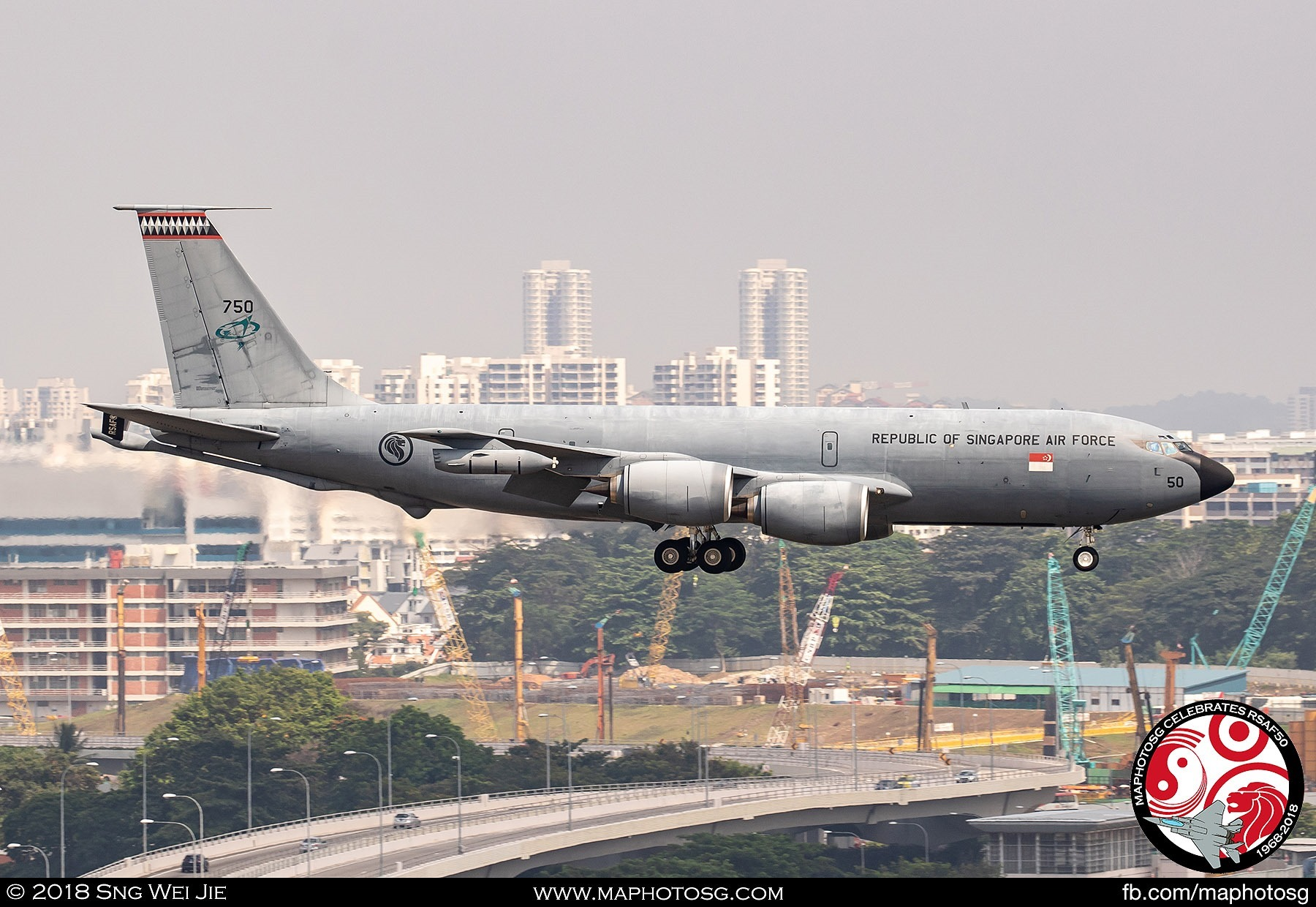 KC-135R Stratotanker on finals to Paya Lebar Air Base after the end of the aerial displays.
