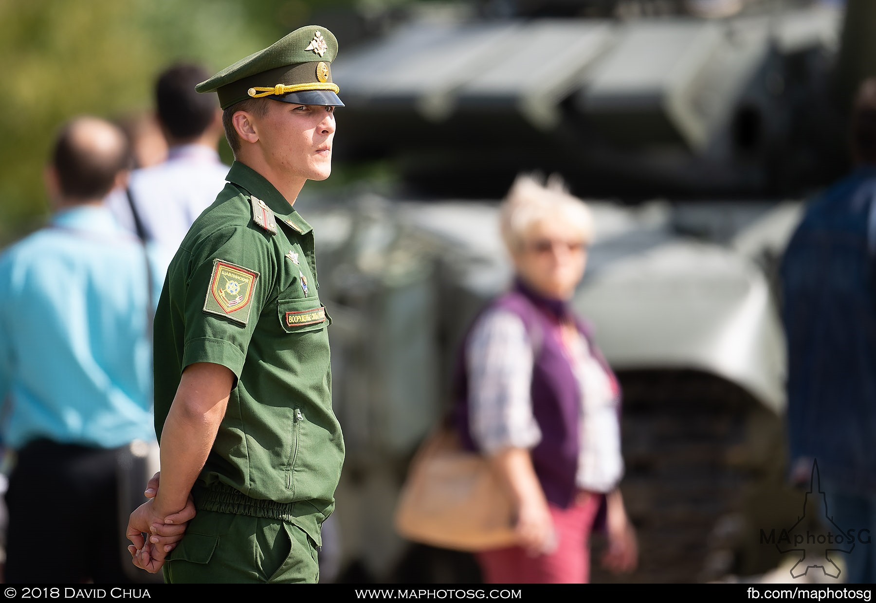 09. Russian soldier watches over static tank displays at the Alabino Live Firing Range.