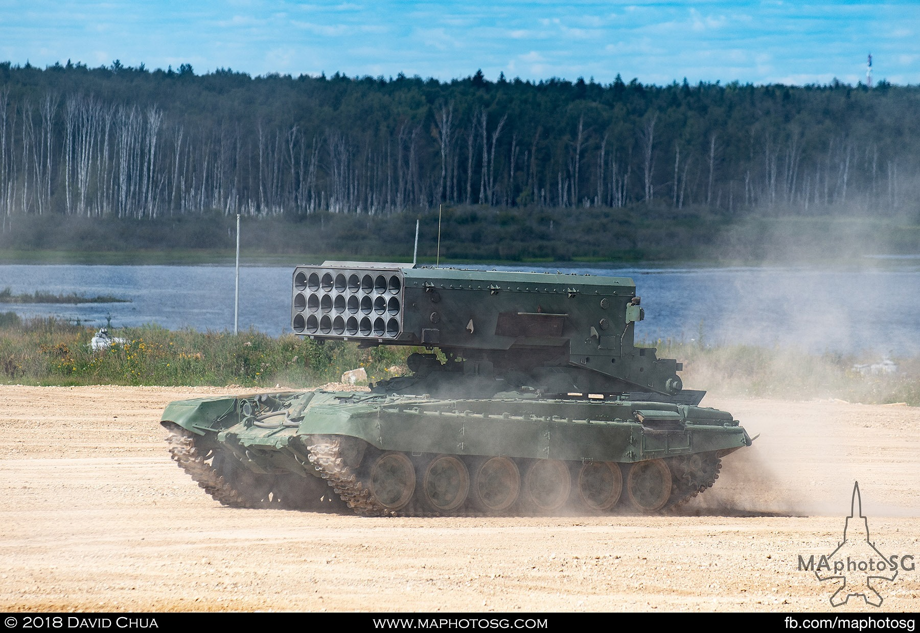 12. TOS-1A Heavy Flame Thrower System moving into position for firing