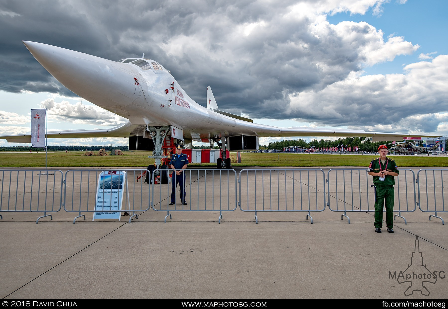 "20. Tupolev Tu-160 ""White Swan"" strategic bomber and one of the crew member at static display"