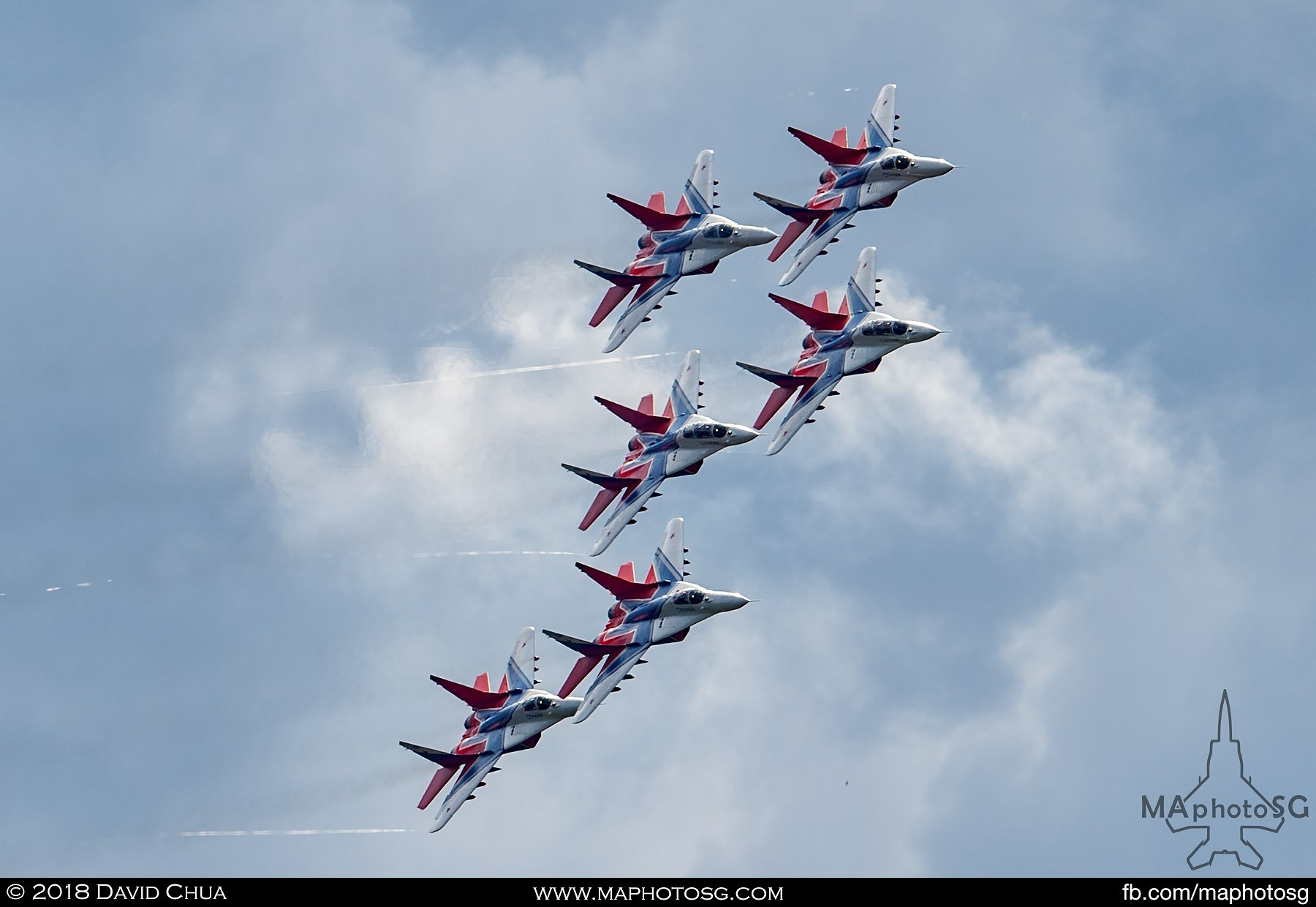 35. Six ship formation of the Swifts as they overfly the Kubinka Airfield