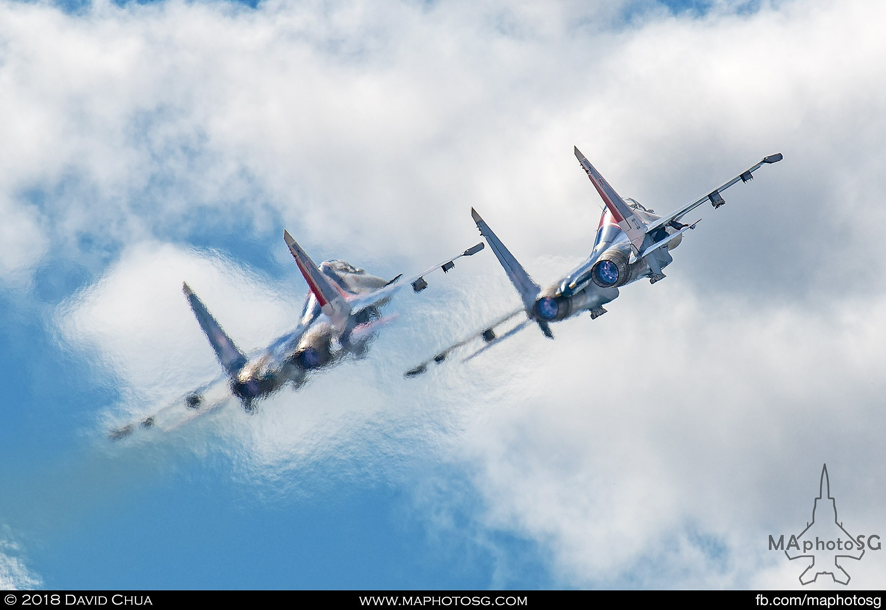 "36. A pair of Russian Knights Su-27sm ""Flankers"" take off with full afterburning to begin their display sequence"