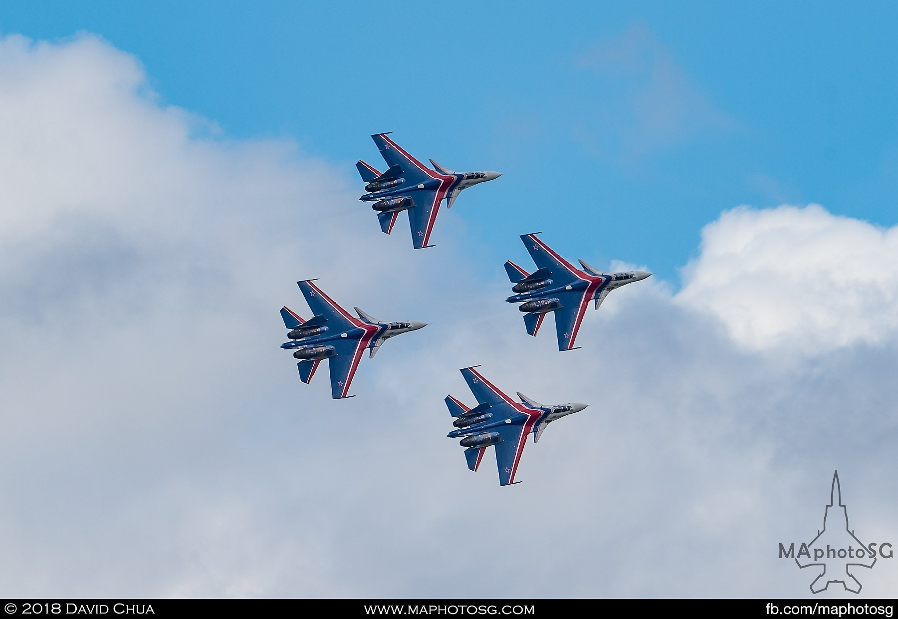"37. Diamond formation of the four Russian Knights Su-27sm ""Flankers"""