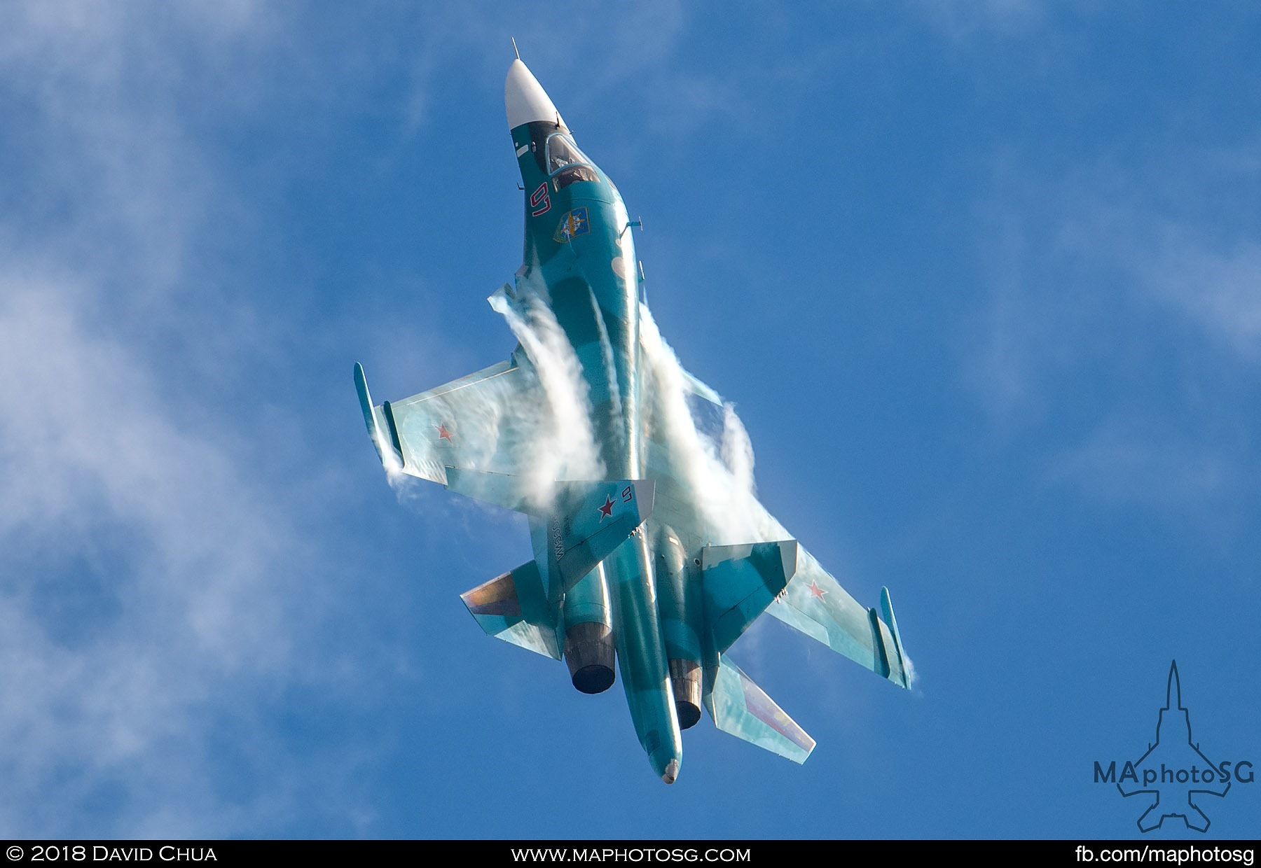 "38. Russian Air Force Su-34 ""Fullback"" fighter bomber performs a vertical climb"
