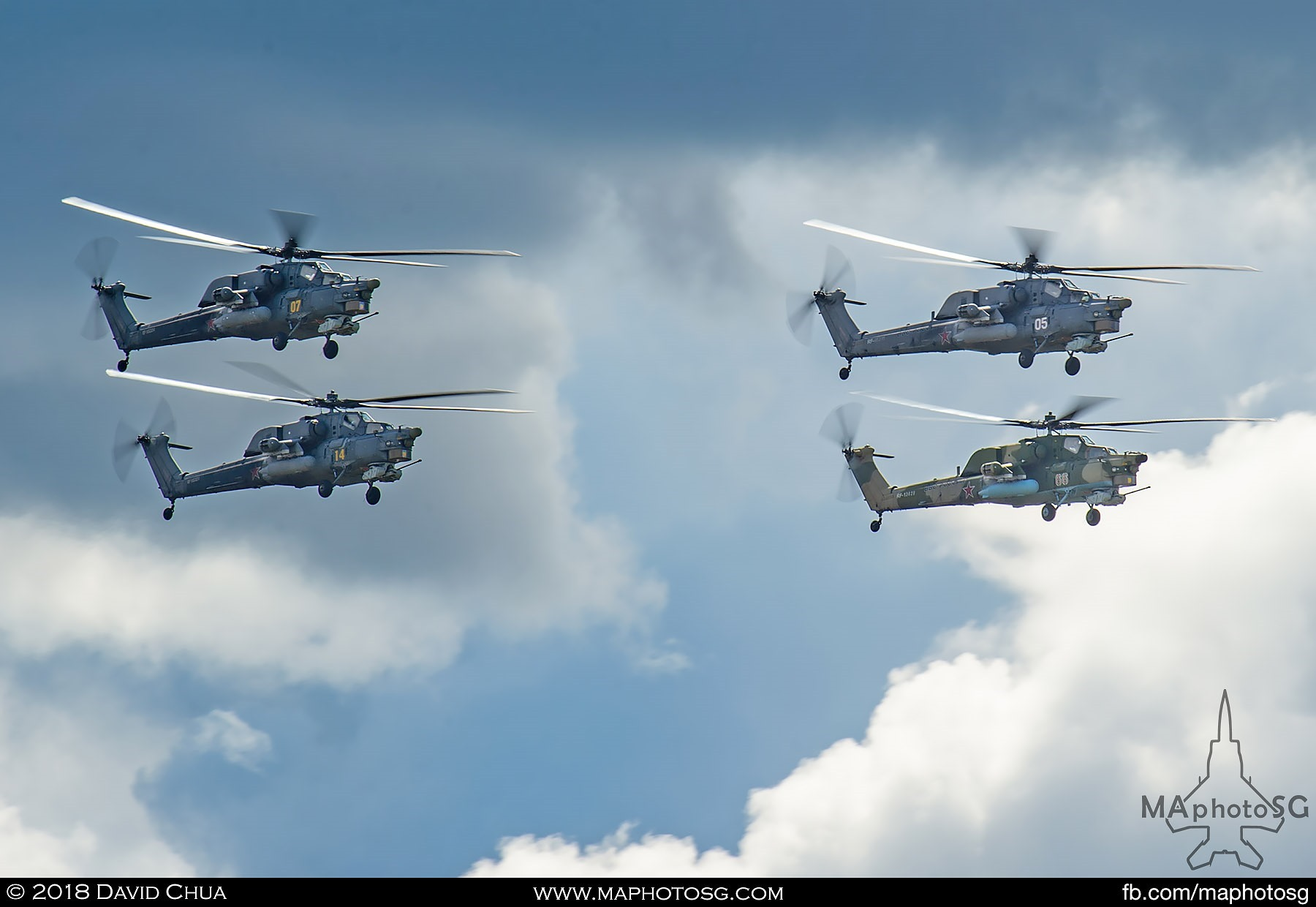 "44. Four ship formation of Mi-28n ""Night Stalker"" of the Golden Eagles Helicopter Aerobatics display team."