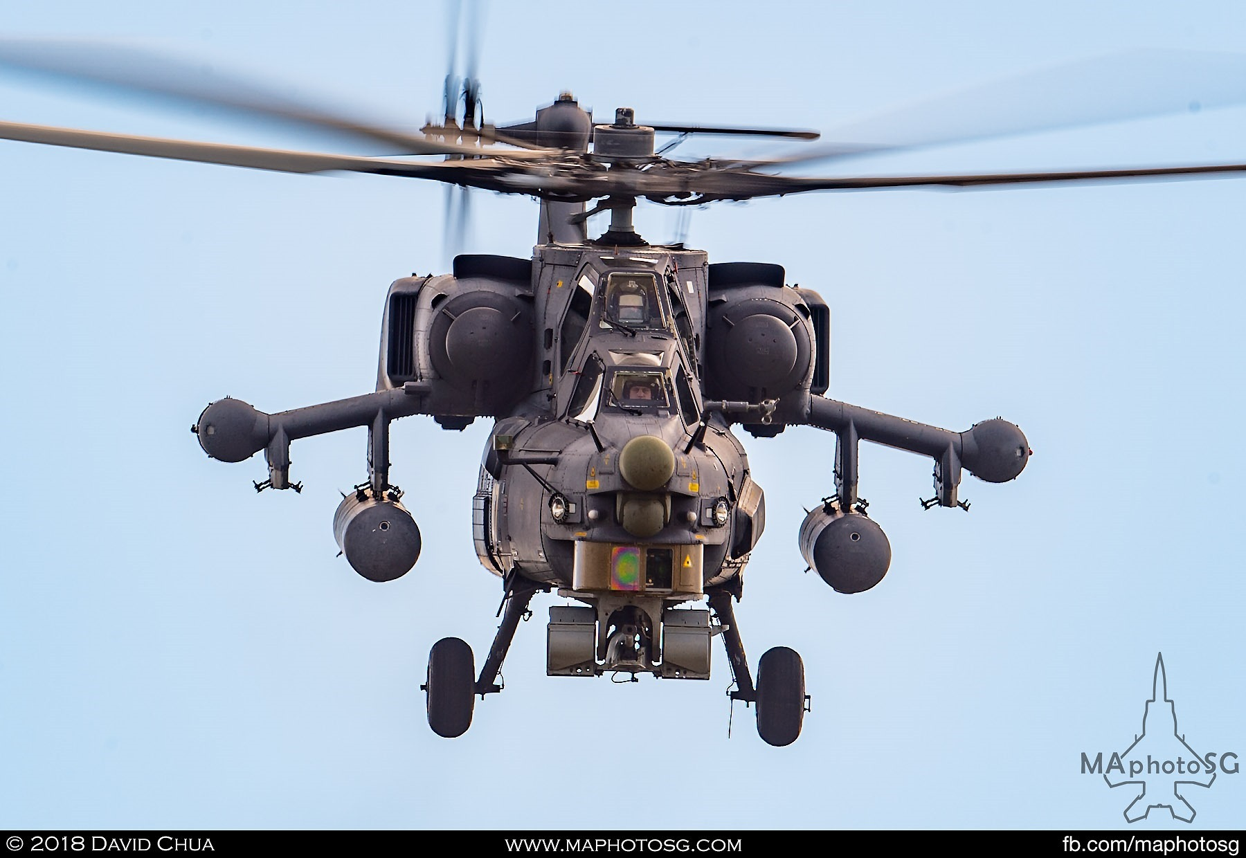 "45. Frontal view of the Mi-28n ""Night Stalker"" attack helicopter"