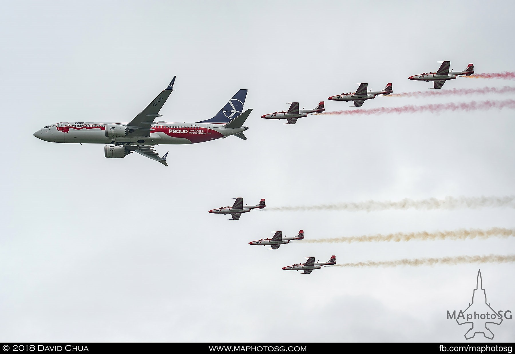 02. Flypast of LOT Polish Airlines Boeing 737 Max in special Proud of Poland's Independence livery escorted by 6 TS-11s of Team Iskry