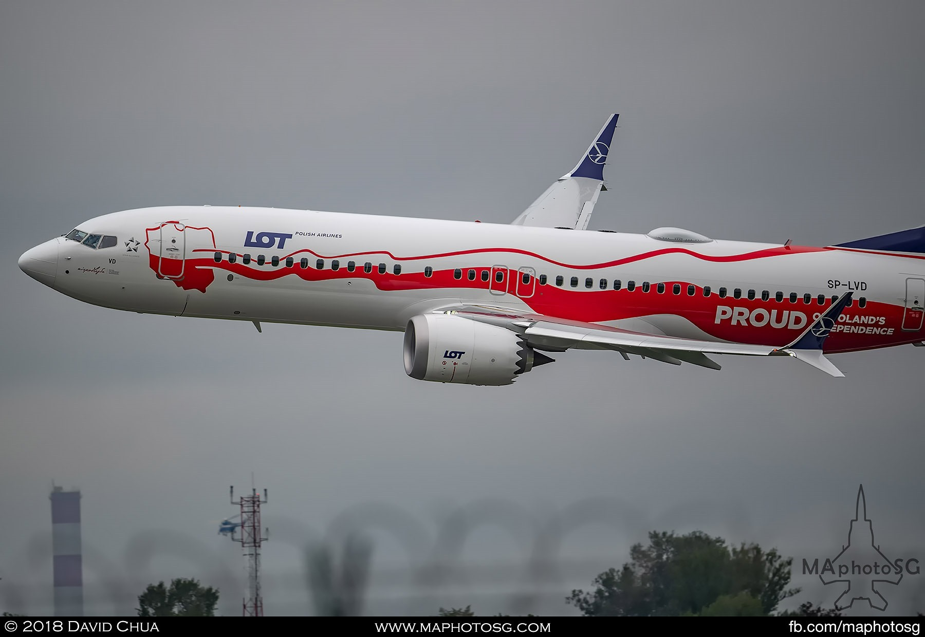 LOT Polish Airlines Boeing 737 Max with Proud of Poland's Independence livery