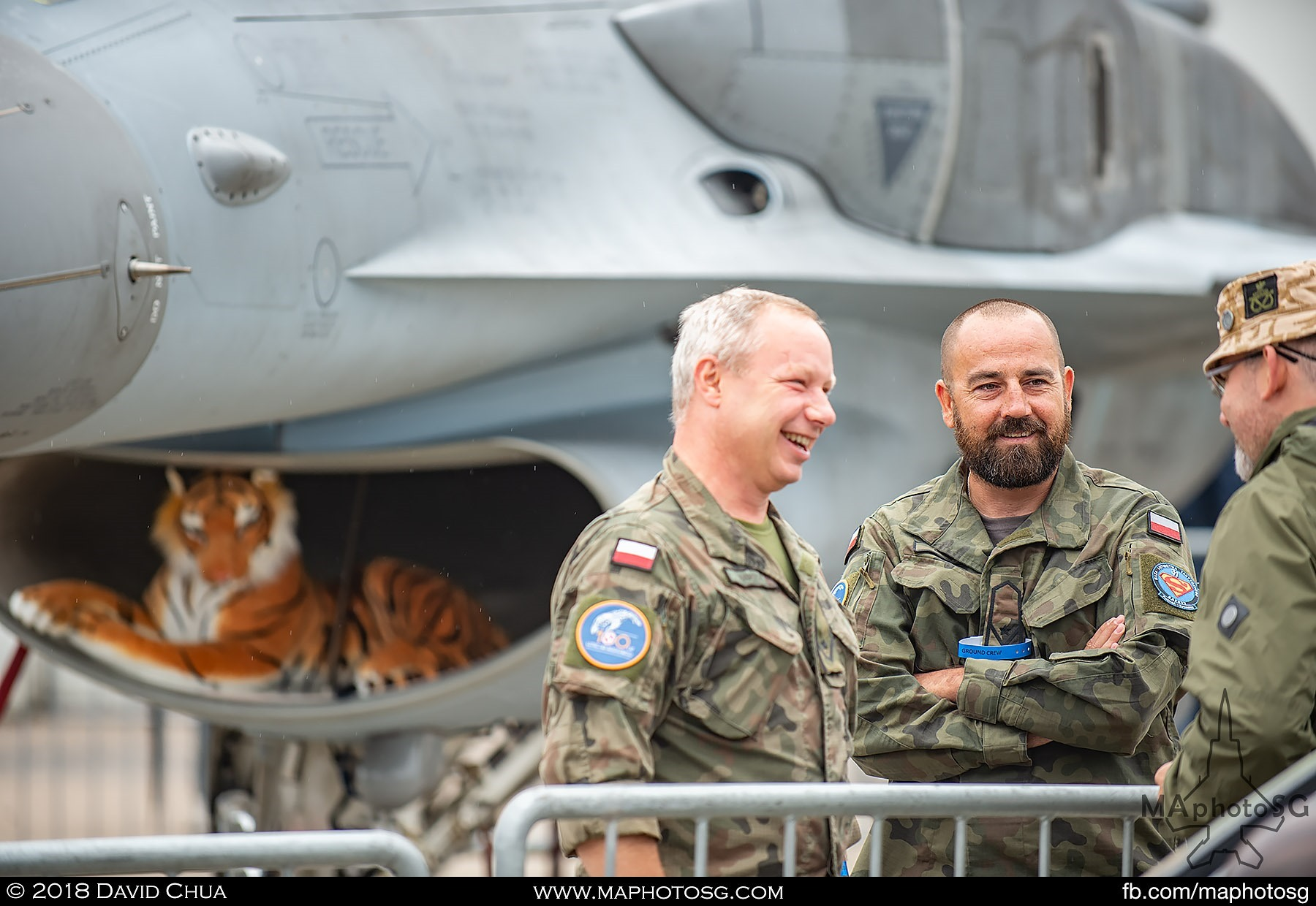 05. Crew of the Polish Air Force F-16 Tiger Demo Team engages the public at the static display