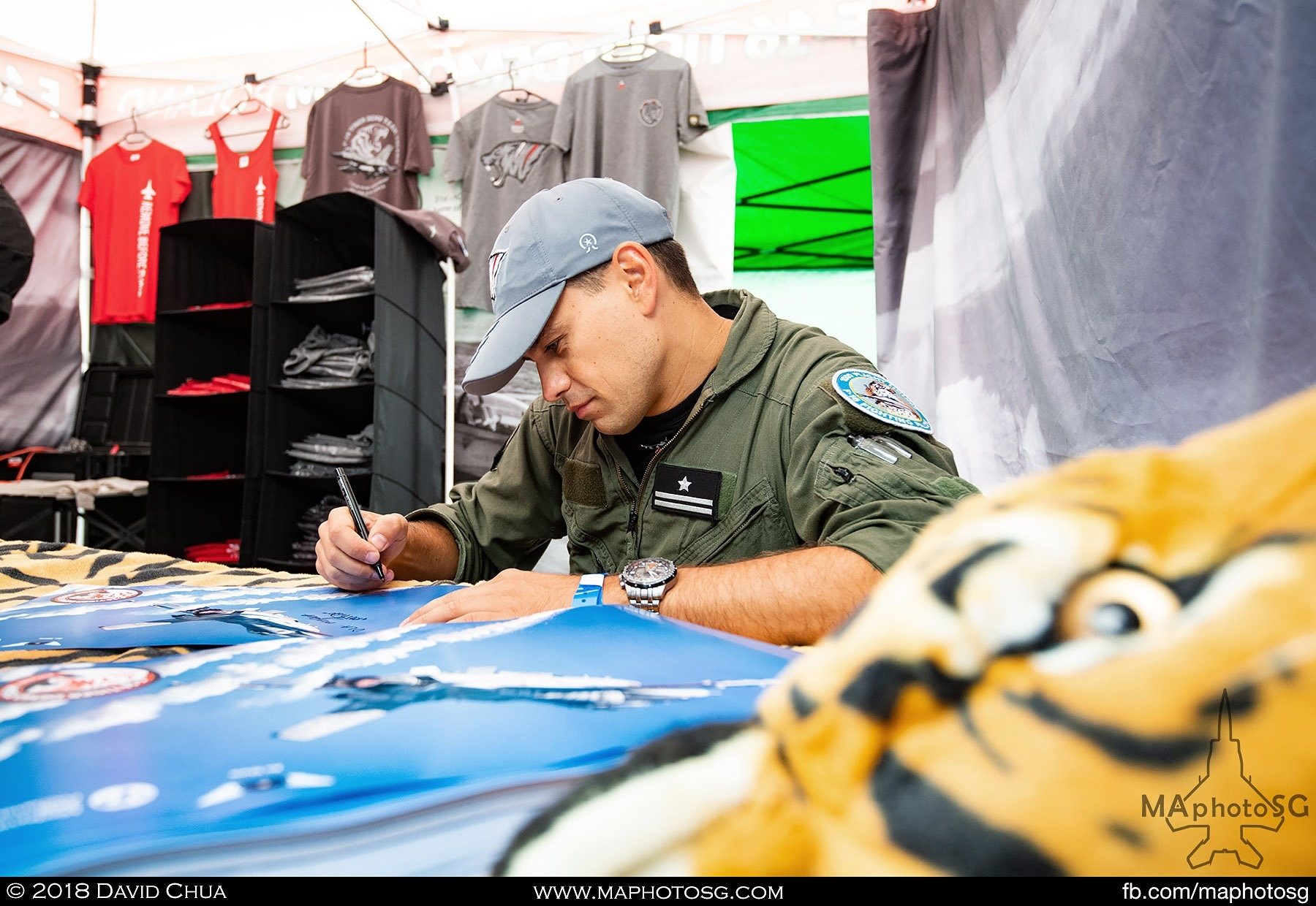 07. Signing the posters for fans of the Polish Air Force F-16 Tiger Demo Team