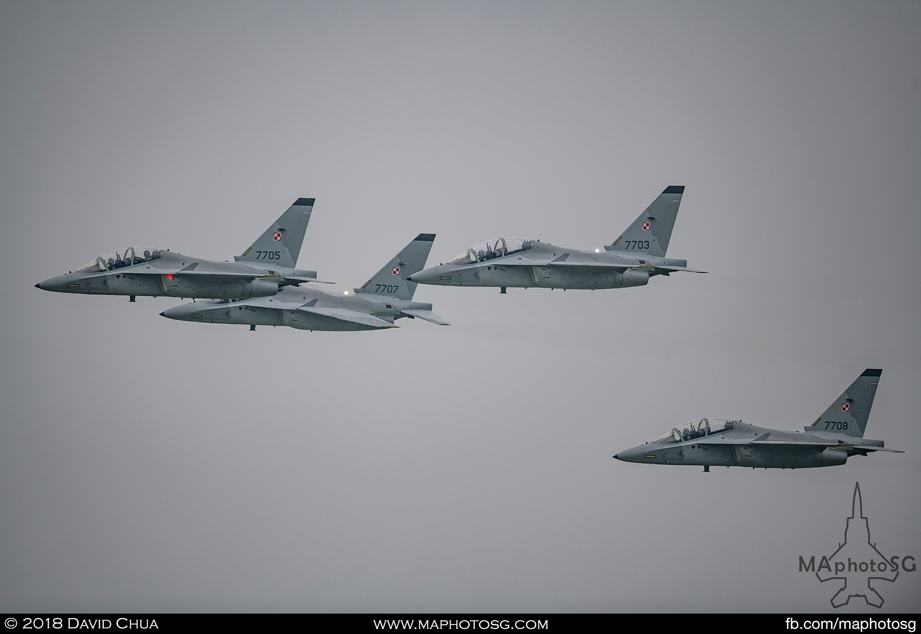 "19. Formation of 4 Polish Air Force M-346 ""Bielik"" did a flypast over the airfield"