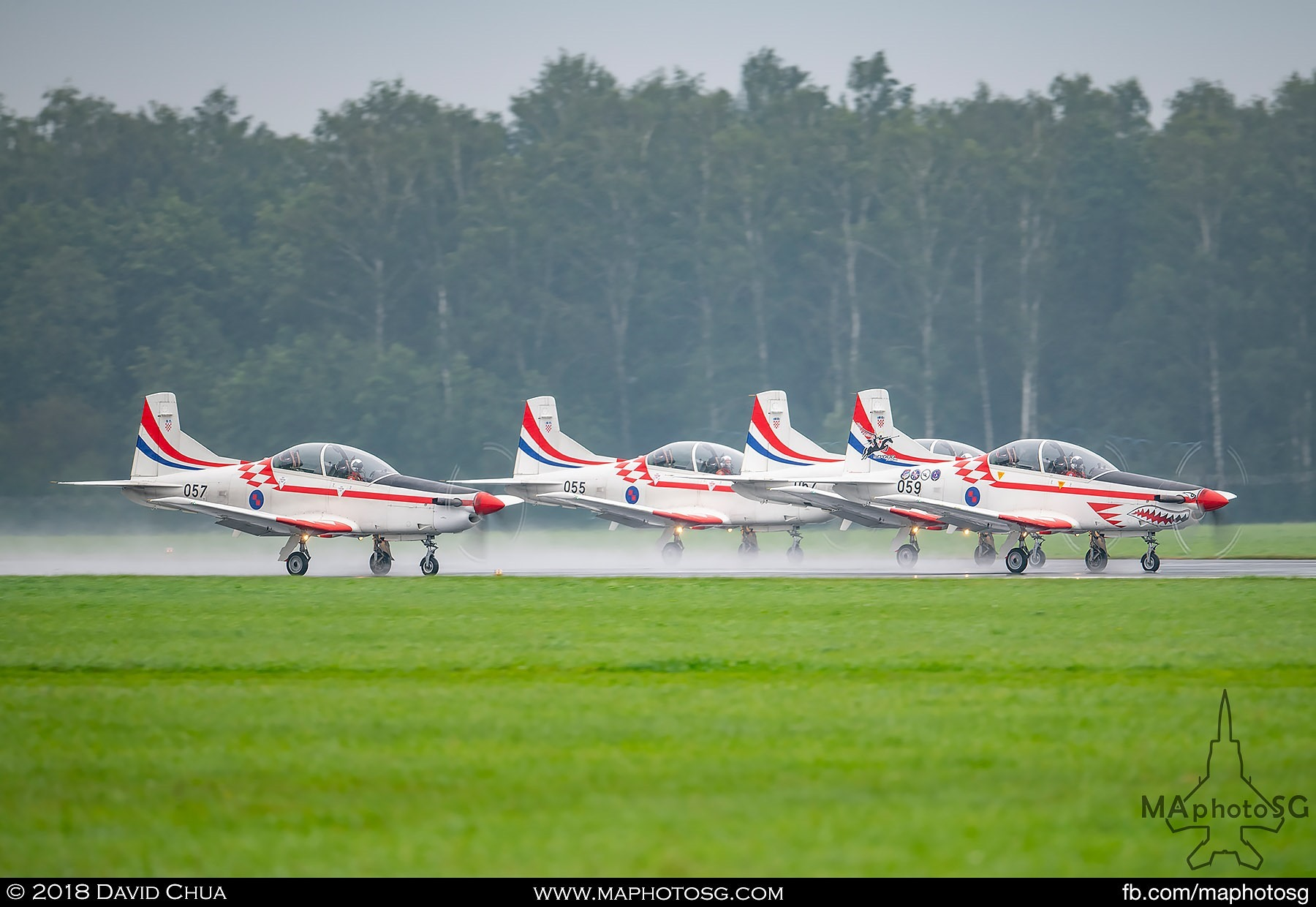 23. Pilatus PC-9Ms of the Croatian Air Force Krila Oluje takes off for their performance