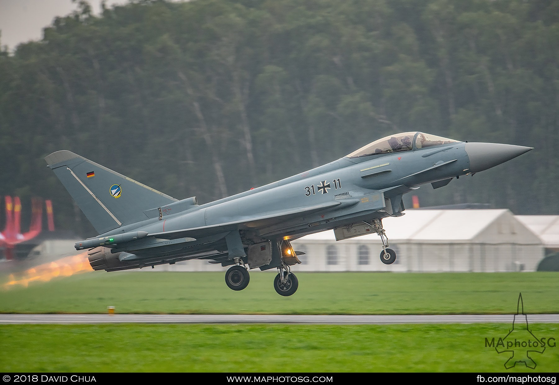 38. Luftwaffe Eurofighter Typhoon rotates in full afterburners