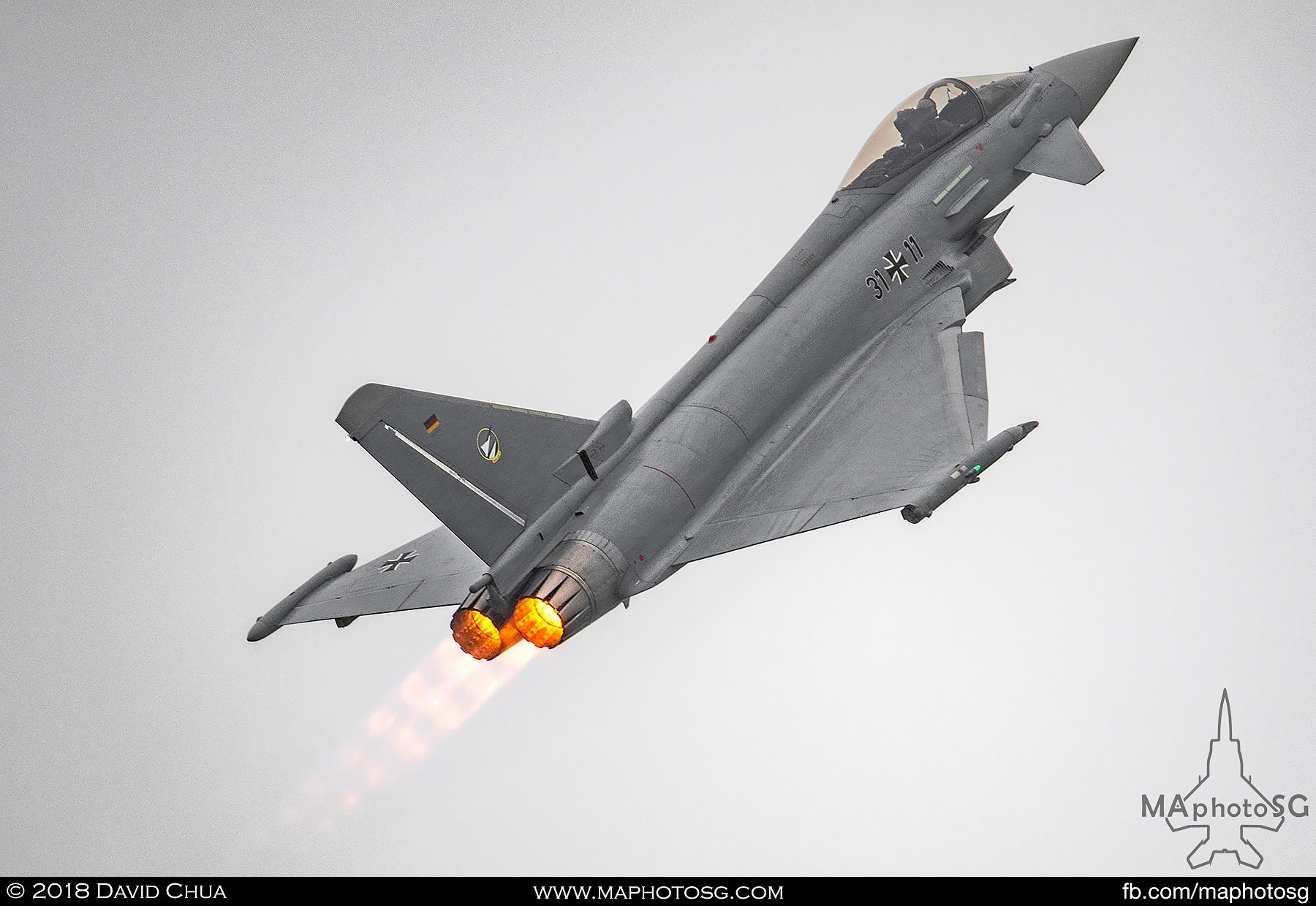 39. Luftwaffe Eurofighter Typhoon performs a vertical climb in afterburners