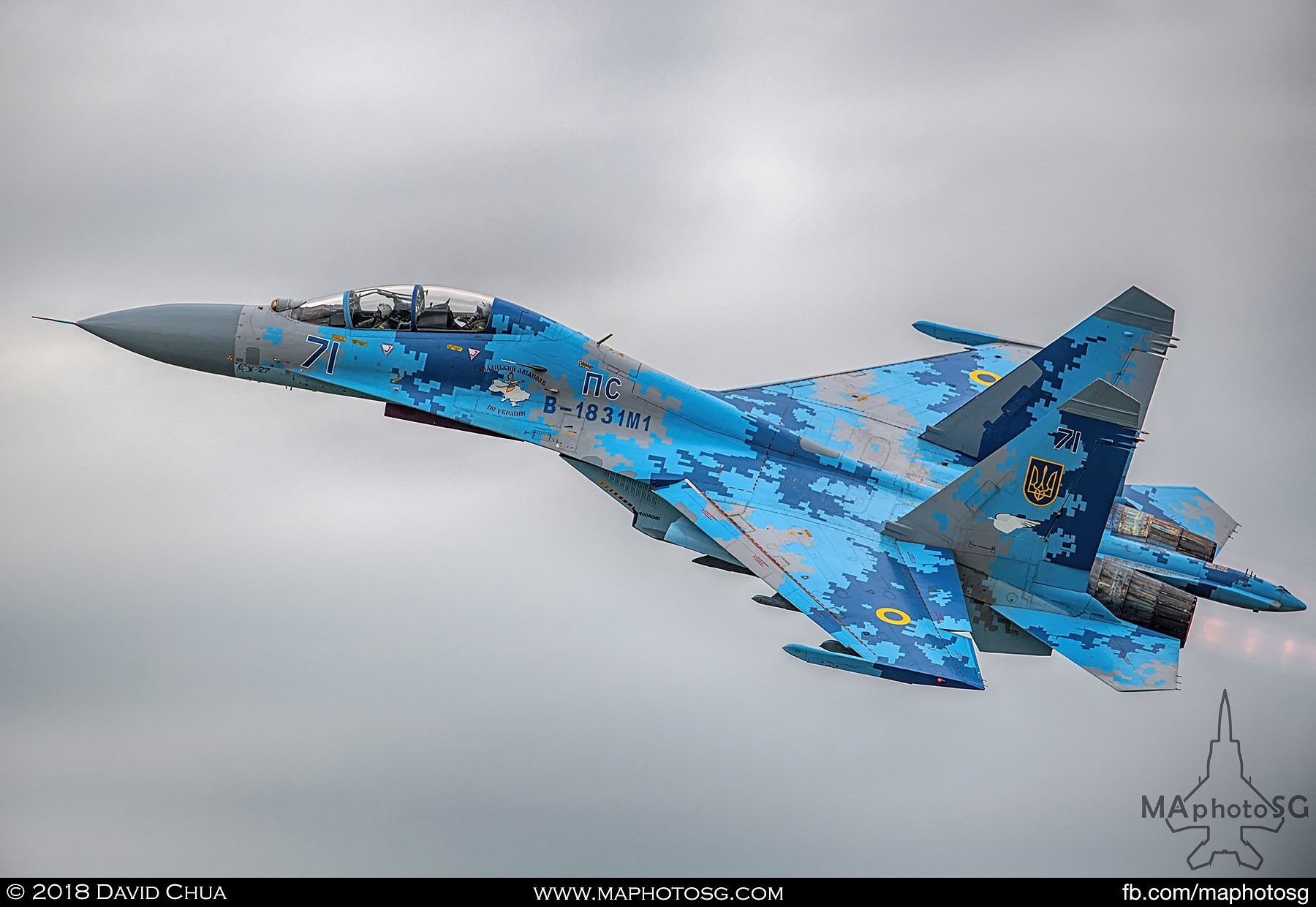 45. Beautifully painted Ukrainian Air Force Su-27 Flanker