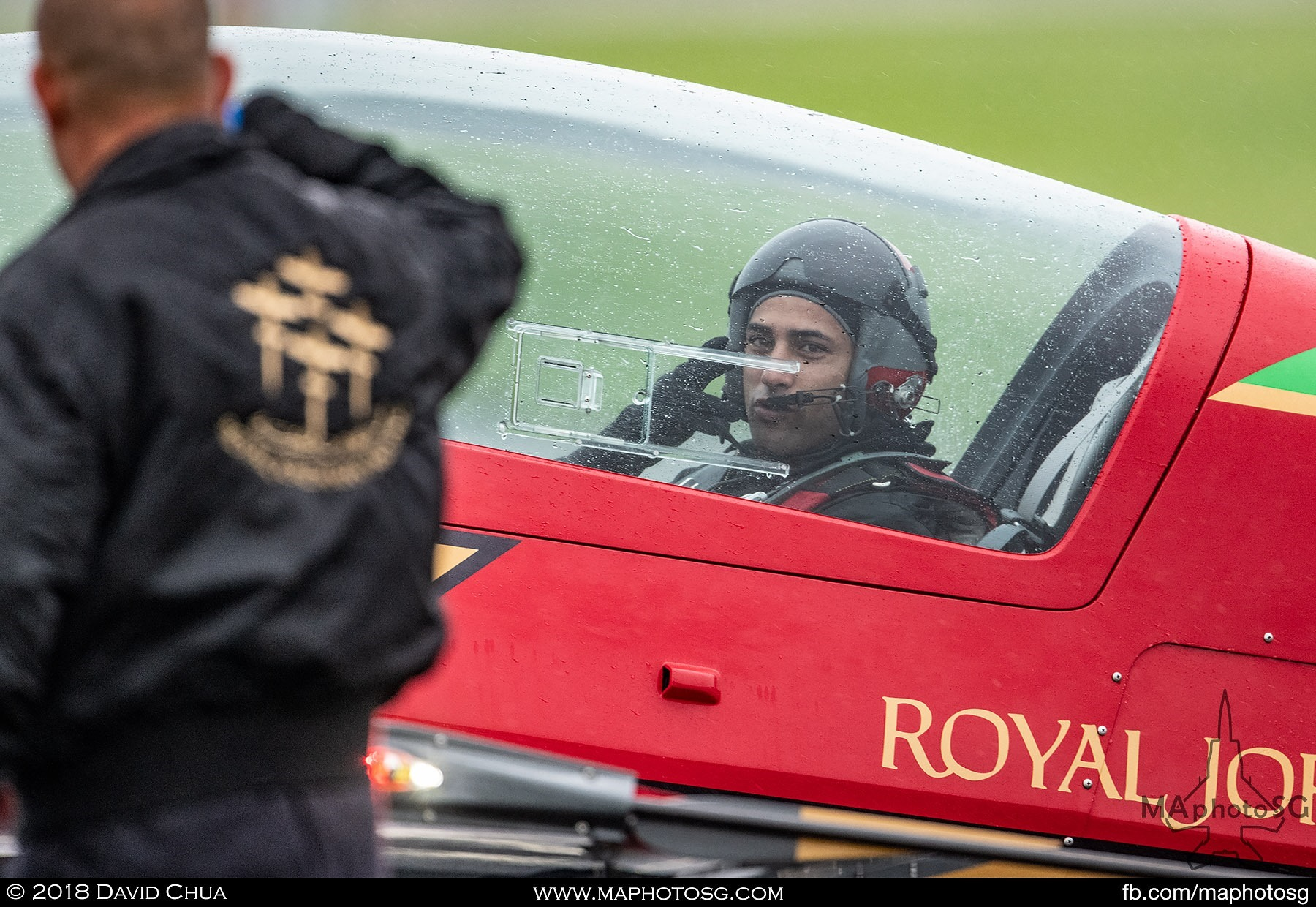 49. Pilot of the Royal Jordanian Falcons as he taxis past the crowdline