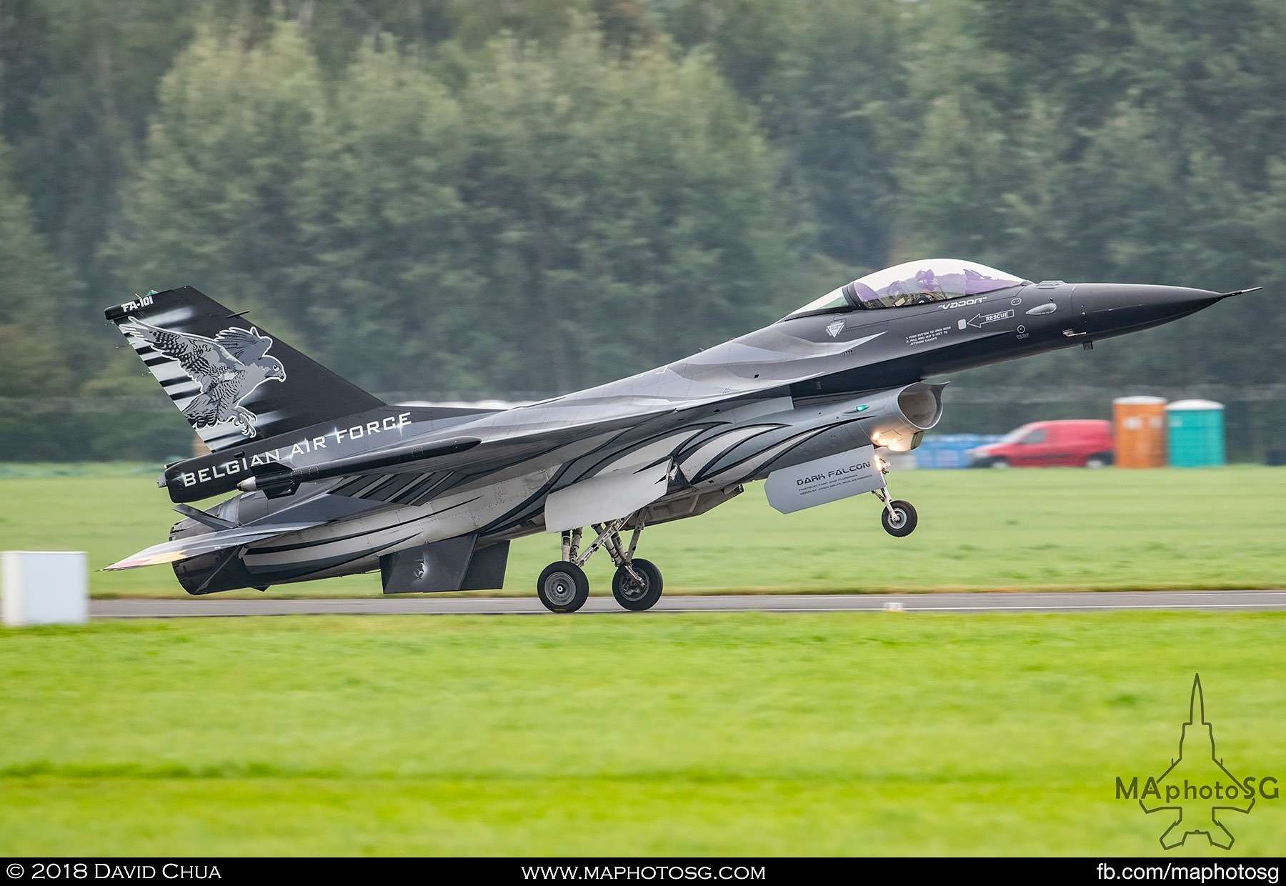 51. Dark Falcon lands after completing his aerial display