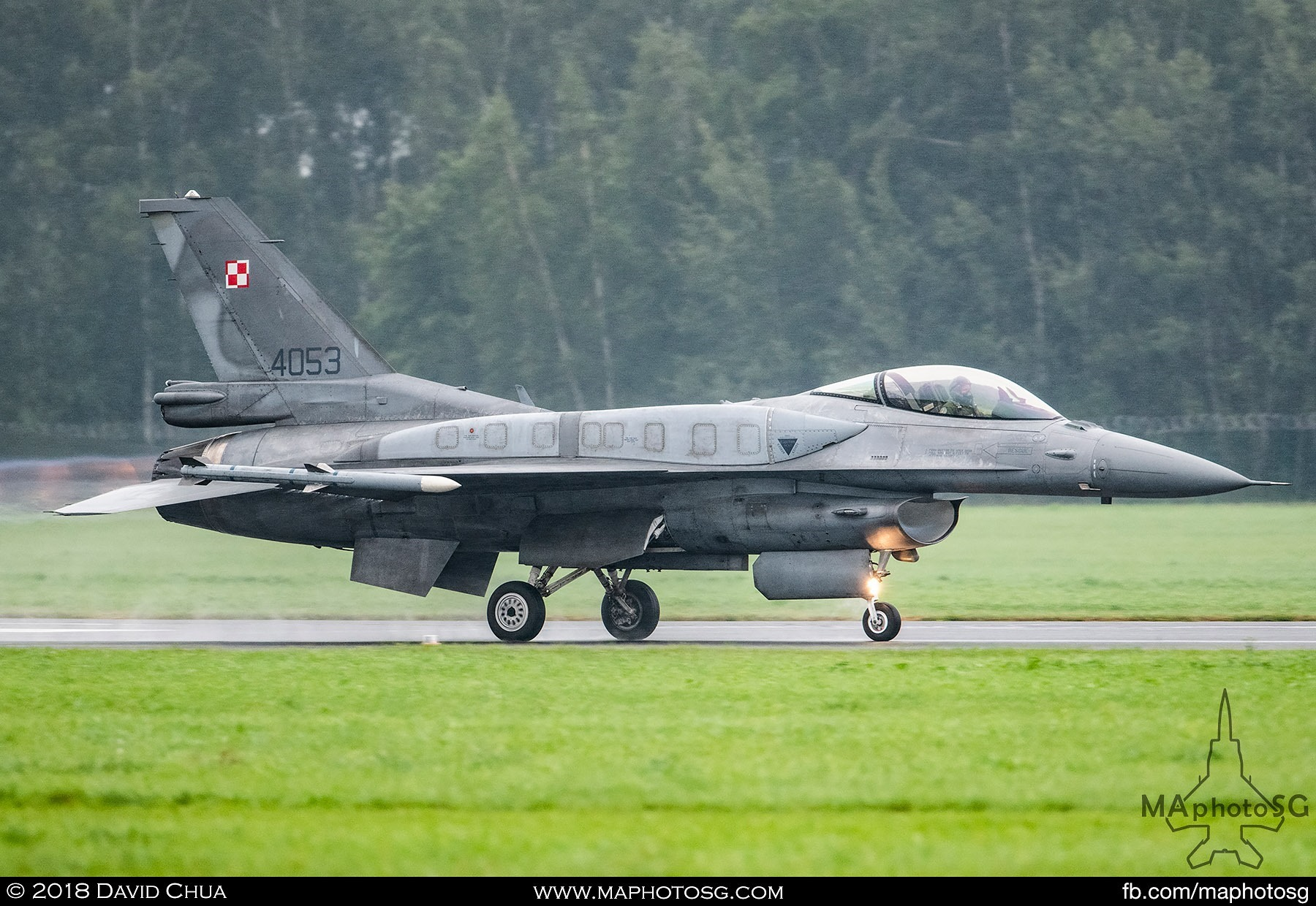 58. Polish Air Force Tiger Demo team F-16C Block 52+ blasts down the runway