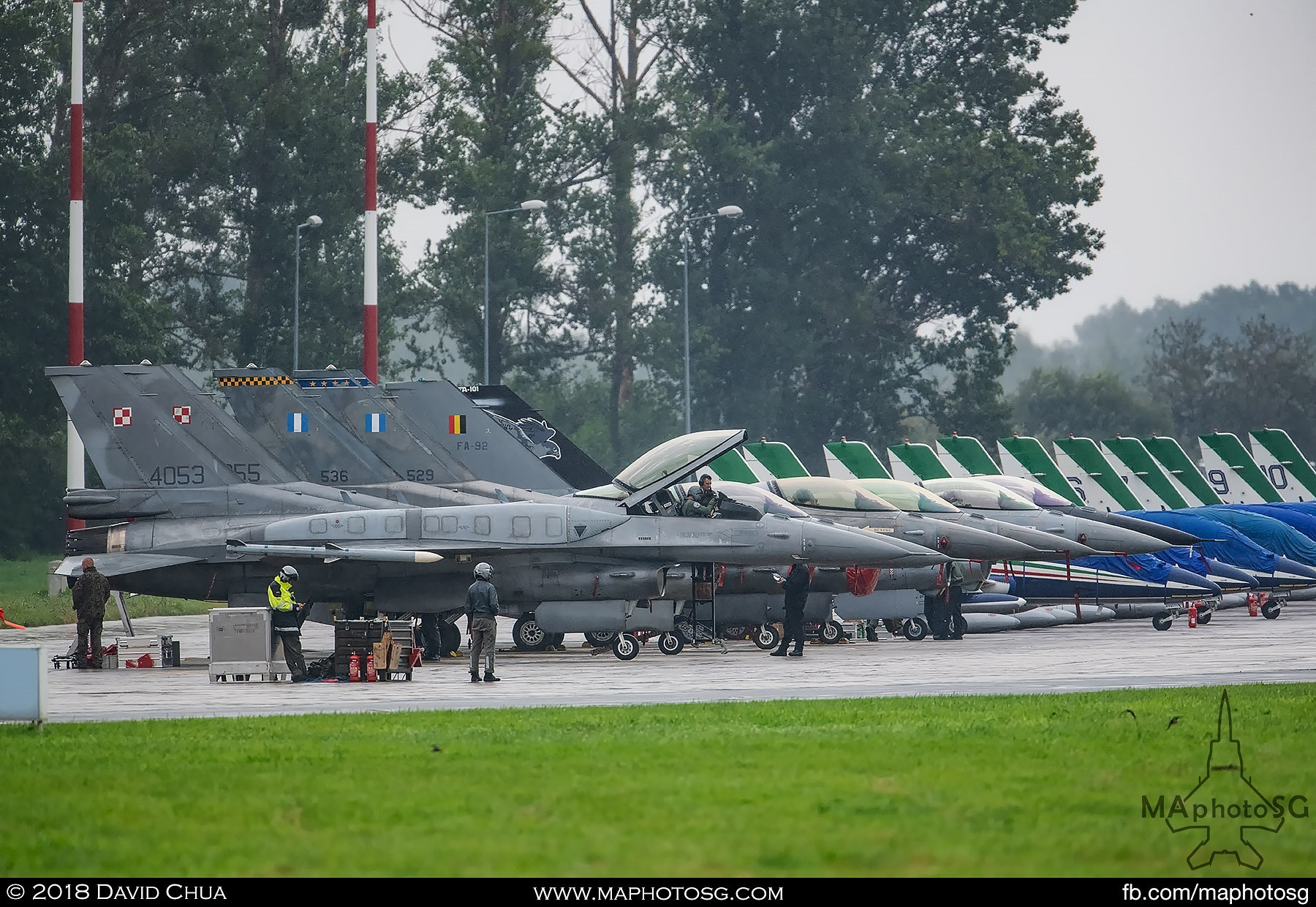 60. Flight line of consisting of 6 F-16s from Polish, Hellenic and Belgium Air Forces with the MB-339s of the Frecce Tricolori in the background