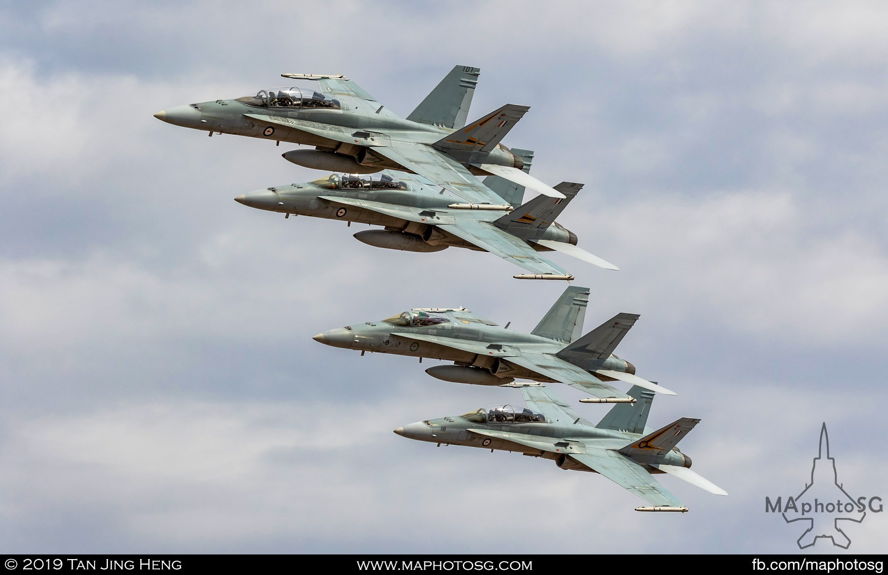Formation of 4 RAAF F/A-18 Hornets