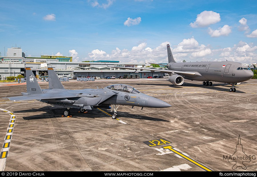 Two of the aircraft types participating in the aerial display. The F-15SG and A330-MRTT