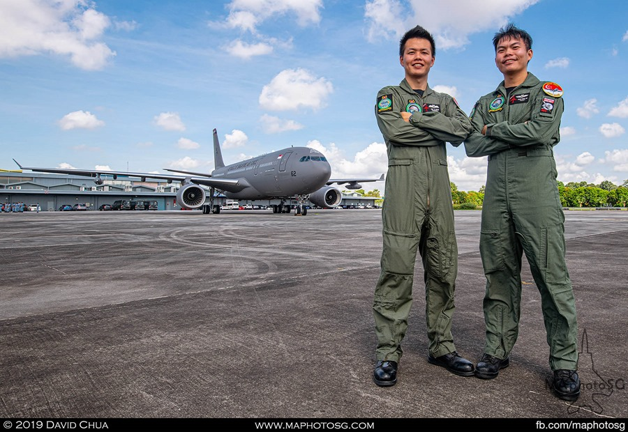 Pilot CPT Teo Yi Quan and Air Refuelling Operator SSG Chan Chee Jie with their A330-MRTT aircraft.