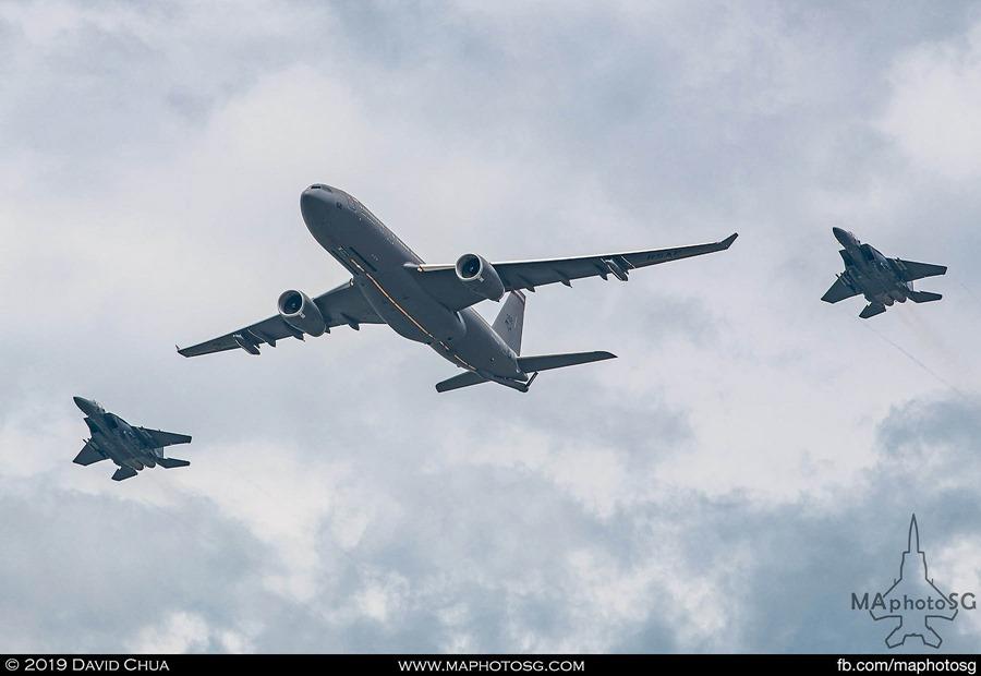 RSAF A330-MRTT formation with F-15SG escorts